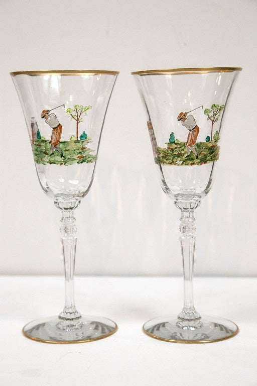 Rare Set Of Eight Antique Hand Painted Golf Wine Glasses For Sale At 1stdibs