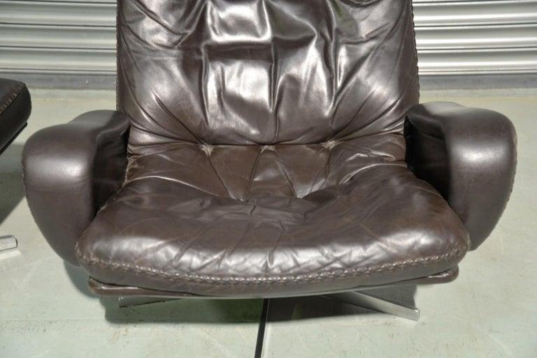 Vintage De Sede S 231 James Bond Swivel Lounge Armchair and Ottoman, 1960s For Sale 7