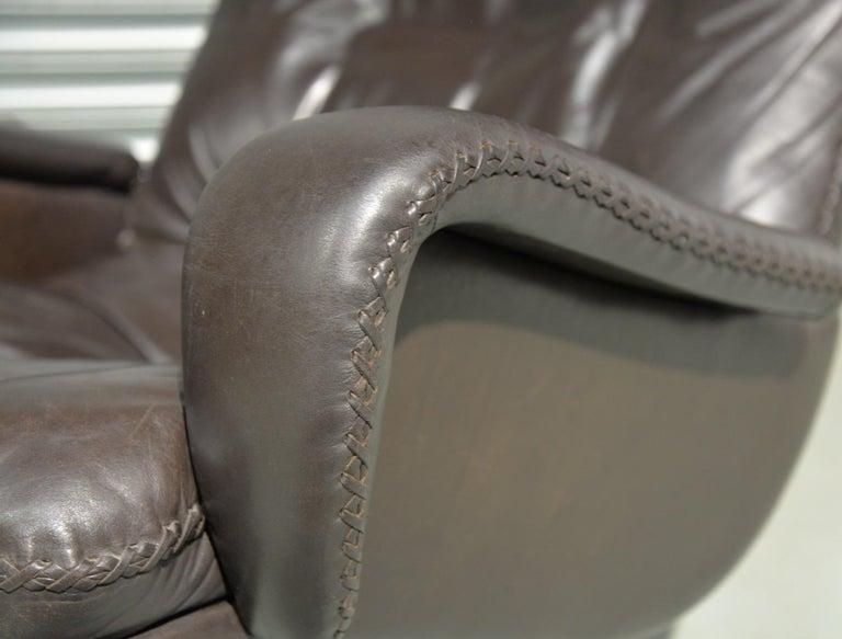 Vintage De Sede S 231 James Bond Swivel Lounge Armchair and Ottoman, 1960s For Sale 10