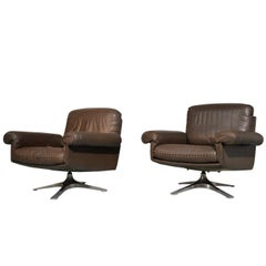 Vintage De Sede DS 31 Lounge Swivel Armchairs, Switzerland 1970s