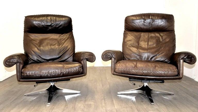 vintage de sede ds 31 high back swivel lounge club armchairs 1970 s for sale at 1stdibs. Black Bedroom Furniture Sets. Home Design Ideas