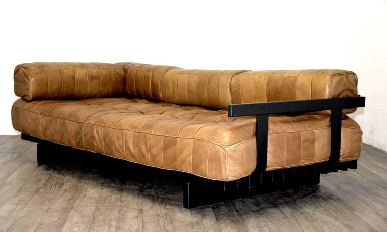 Wood Vintage Swiss De Sede DS 80 leather Daybed, 1960s For Sale