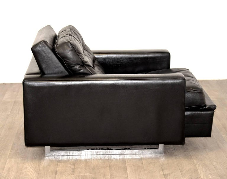 """Leather Vintage de Sede DS 3A """"New Yorker"""" Armchair and Ottoman, 1970s For Sale"""
