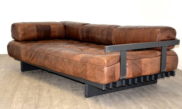 Vintage Swiss De Sede Ds 80 Patchwork Leather Daybed, 1960s For Sale 1
