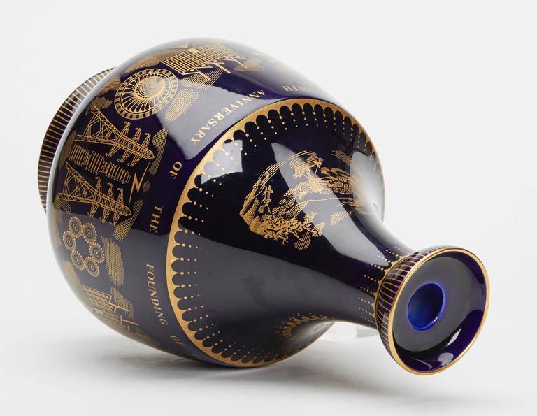 English Vintage Royal Doulton Potteries 150th Anniversary Blue Vase, 1965