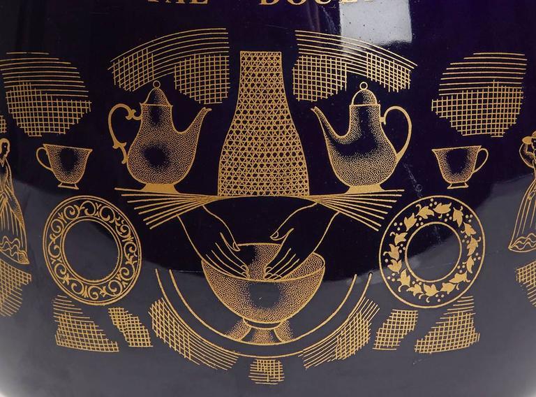 Glazed Vintage Royal Doulton Potteries 150th Anniversary Blue Vase, 1965