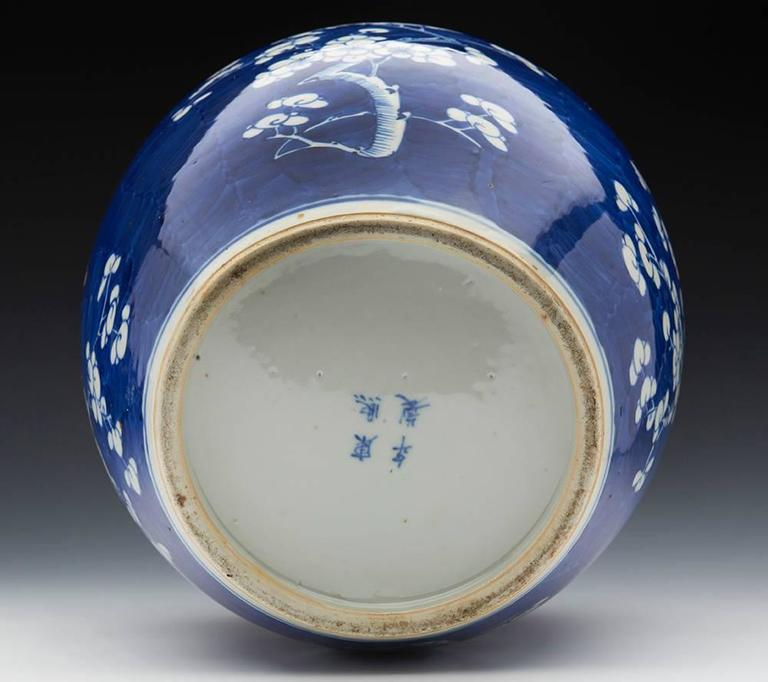 Large Antique Chinese Kangxi Mark Blue And White Hawthorn Jar 19th