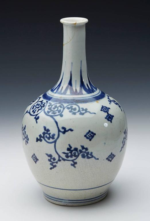 Antique Japanese Imari Porcelain Blue And White Vase 17th Century