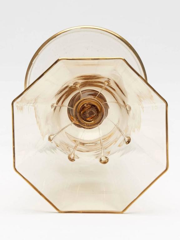 Murano Glass Eight Art Deco Murano MVM Cappellin Amber Wine Glasses, circa 1925 For Sale