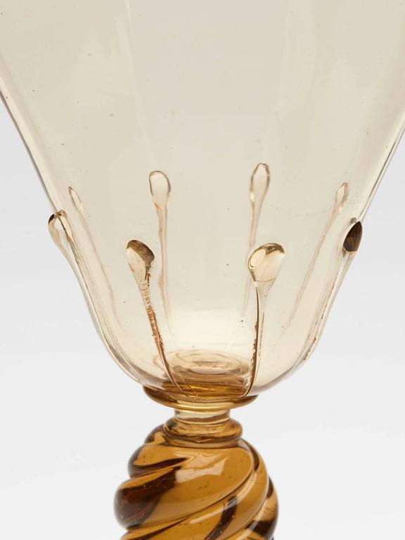 Eight Art Deco Murano MVM Cappellin Amber Wine Glasses, circa 1925 For Sale 2