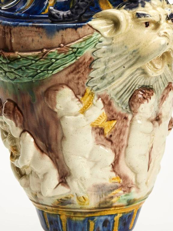 Antique Lidded Majolica Grotesque Horned Head Vase 19th