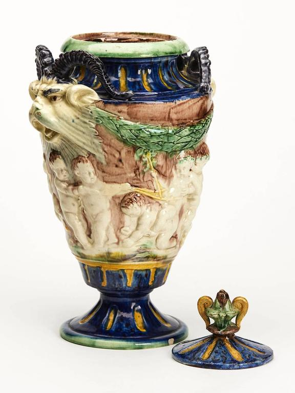 Antique Lidded Majolica Grotesque Horned Head Vase 19th Century For Sale At 1stdibs