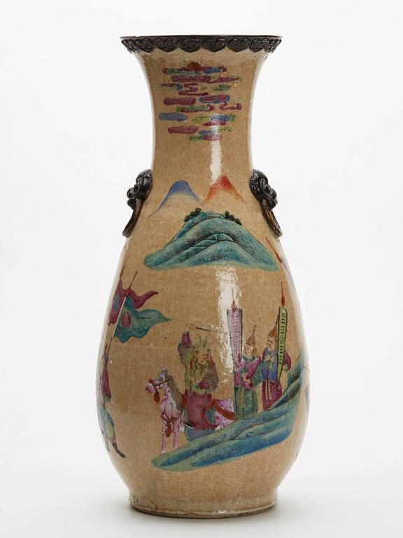 Large Antique Chinese Famille Rose Craquel Glaze Vase