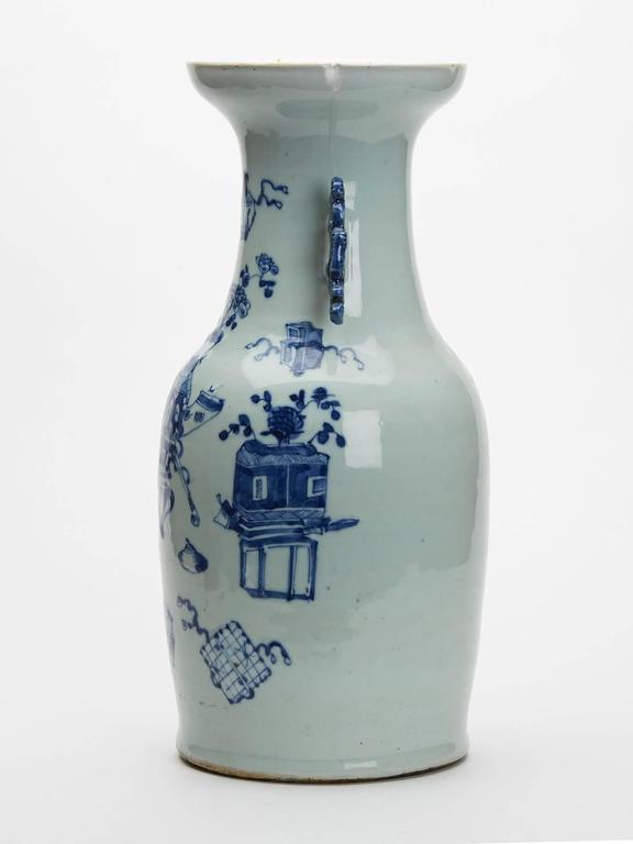 Large Antique Chinese Celadon Blue And White Vase 19th Century For