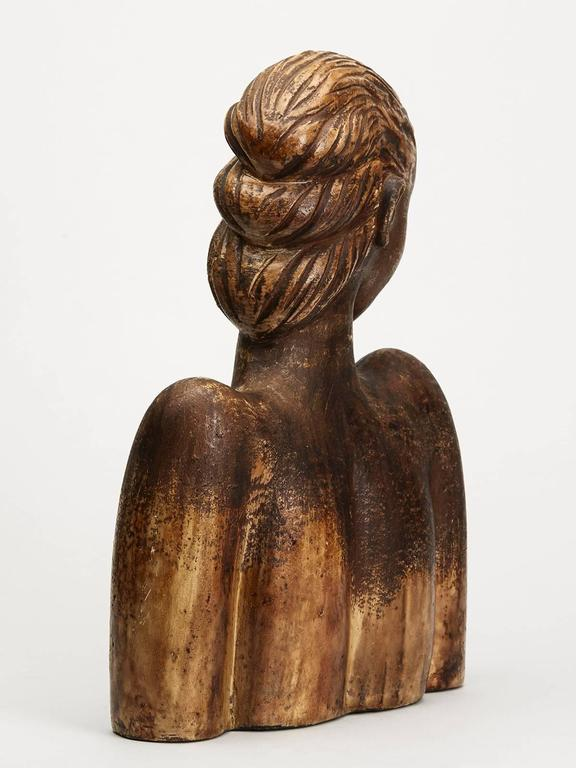European Large Continental Sculptural Pottery Bust, 20th Century For Sale