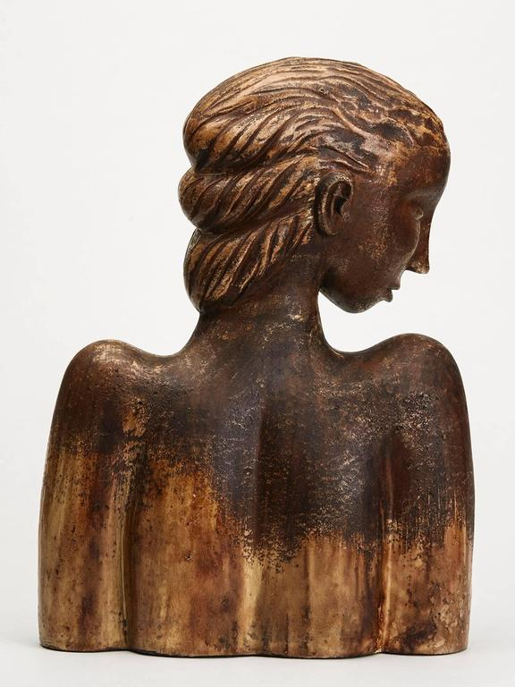 Modern Large Continental Sculptural Pottery Bust, 20th Century For Sale