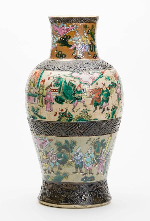 Large Antique Chinese Craquel Famille Rose Vase 19th Century At 1stdibs