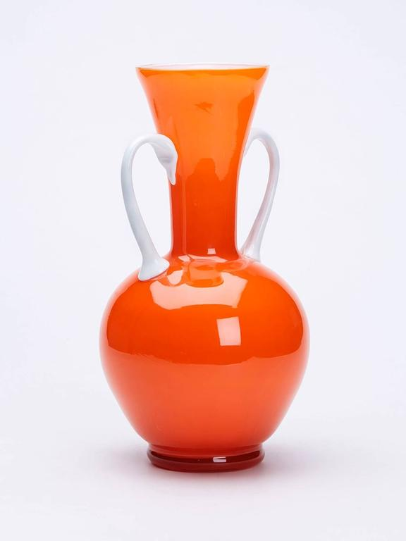 Vintage Italian Empoli Orange Cased Twin Handled Vase 1960 For Sale