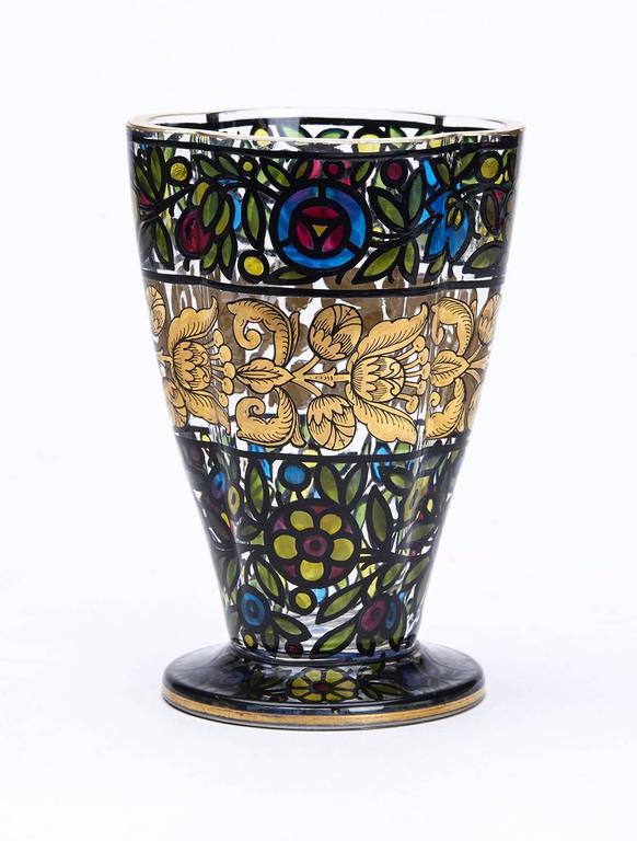 Bohemian Glass Vase Julius Mulhaus And Co Haida Circa 1915 For Sale