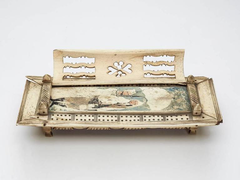 Hand-Carved Napoleonic Prisoner of War Games Box, circa 1800 For Sale