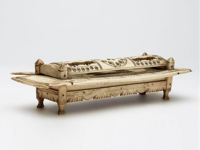 Bone Napoleonic Prisoner of War Games Box, circa 1800 For Sale