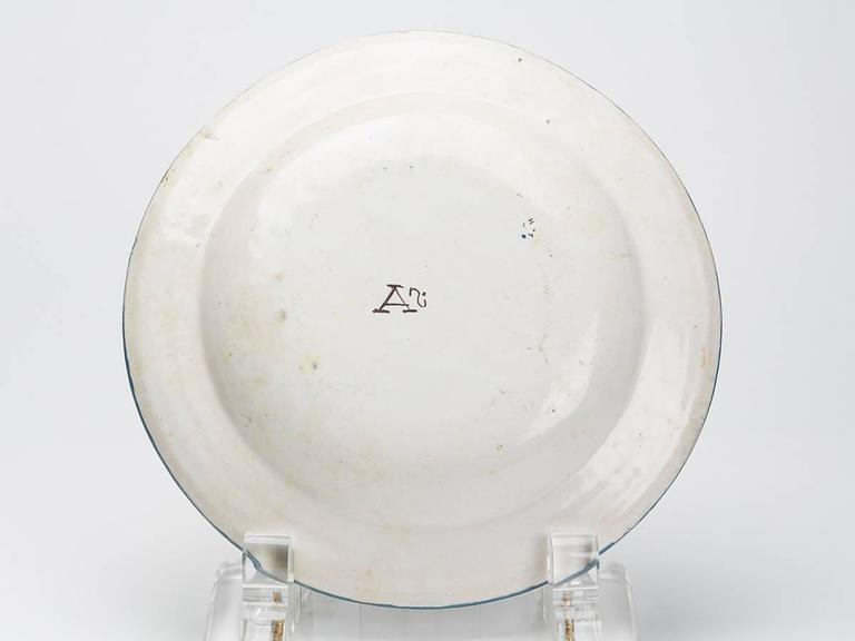 18th Century and Earlier Antique Continental Polychrome Tin Glazed Dish, 18th Century For Sale