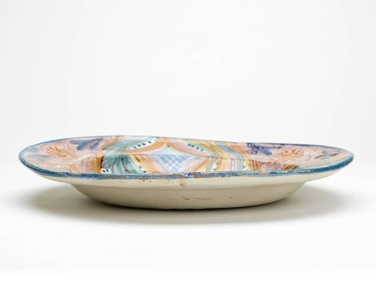 Antique Continental Polychrome Tin Glazed Dish, 18th Century For Sale 1