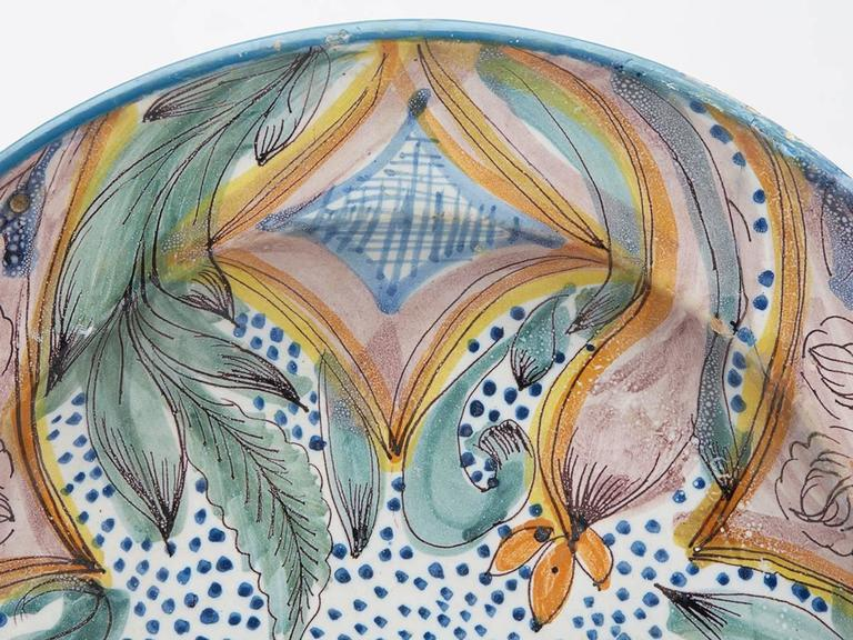 European Antique Continental Polychrome Tin Glazed Dish, 18th Century For Sale