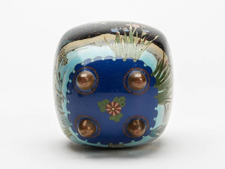 Metal Japanese Meiji Cloisonne Lidded Jar , 19th Century For Sale