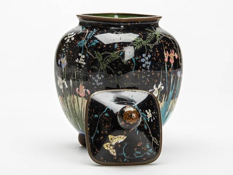 Japanese Meiji Cloisonne Lidded Jar , 19th Century For Sale 2