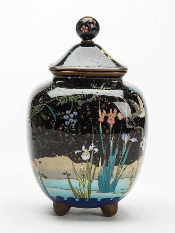 Cloissoné Japanese Meiji Cloisonne Lidded Jar , 19th Century For Sale