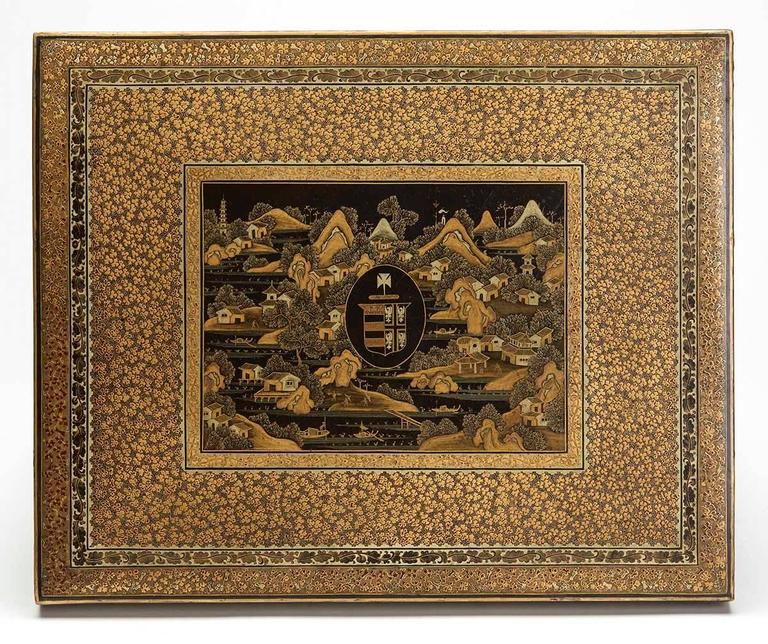 Gilt Antique Chinese Smith Armorial Games Box and Counters For Sale