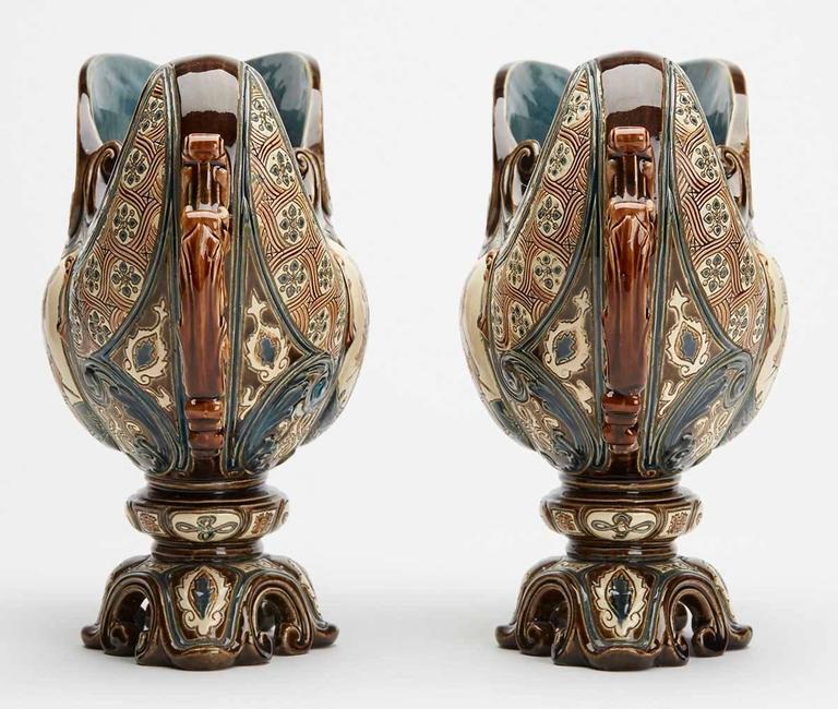 Austrian Gerbing & Stephan Majolica Console Bowls, 19th Century