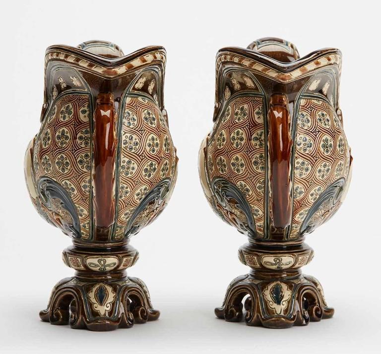 Bohemian Gerbing & Stephan Majolica Console Bowls, 19th Century