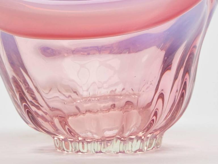 Hand-Crafted Vintage Hand Blown Murano Pink Opalescent Twin Handled Basket, circa 1970 For Sale