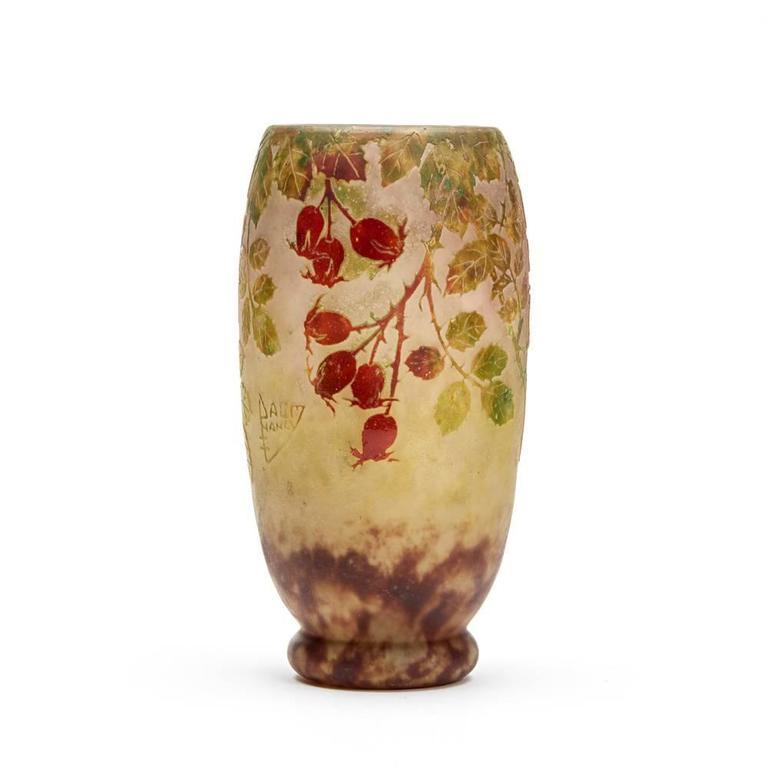French Daum Nancy Art Nouveau Rosehip Cameo Glass Vase, circa 1900 For Sale