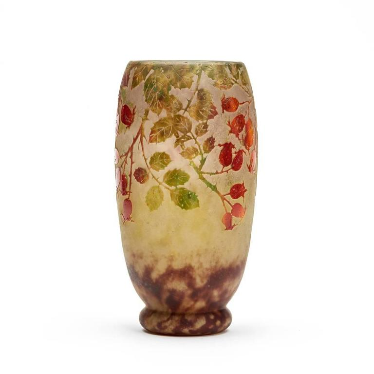 Enameled Daum Nancy Art Nouveau Rosehip Cameo Glass Vase, circa 1900 For Sale