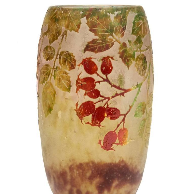 Late 19th Century Daum Nancy Art Nouveau Rosehip Cameo Glass Vase, circa 1900 For Sale