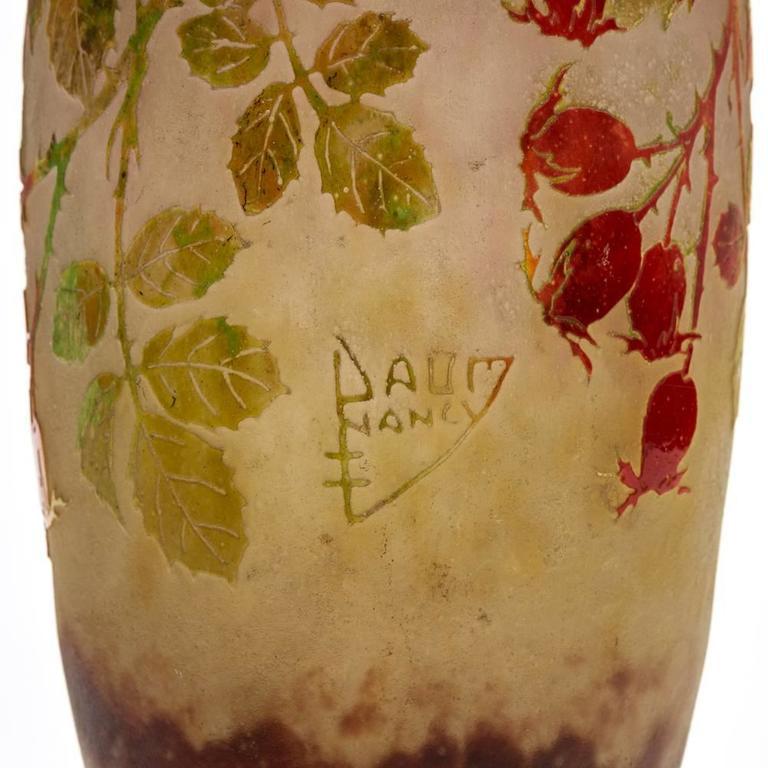 Daum Nancy Art Nouveau Rosehip Cameo Glass Vase, circa 1900 For Sale 4