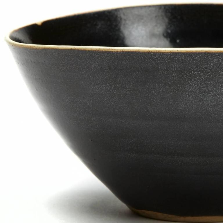Mid-20th Century Lucie Rie and Hans Coper Studio Pottery Black Glazed Bowl