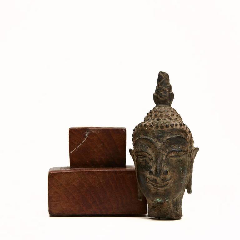 Thai Fragment of a Buddha Head Ayutthaya Period 15th Century In Fair Condition For Sale In Bishop's Stortford, Hertfordshire