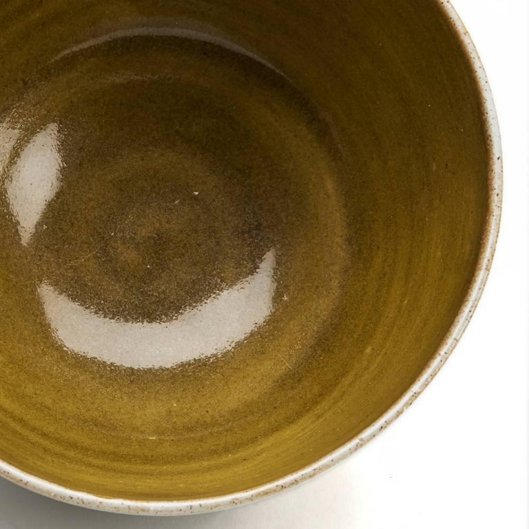 20th Century Lucie Rie & Hans Coper Studio Pottery Mustard Glazed Bowl For Sale