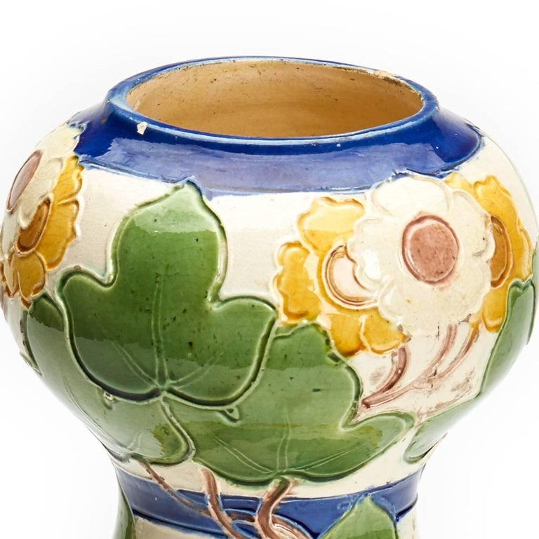 Burmantofts Faience Partie-Colour Vase by Joseph Walmsley In Good Condition For Sale In Bishop's Stortford, Hertfordshire