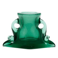 Vintage Murano Archimede Seguso Green Handled Glass Vase, circa 1960