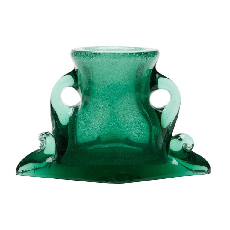 Mid-Century Modern Vintage Murano Archimede Seguso Green Handled Glass Vase, circa 1960 For Sale