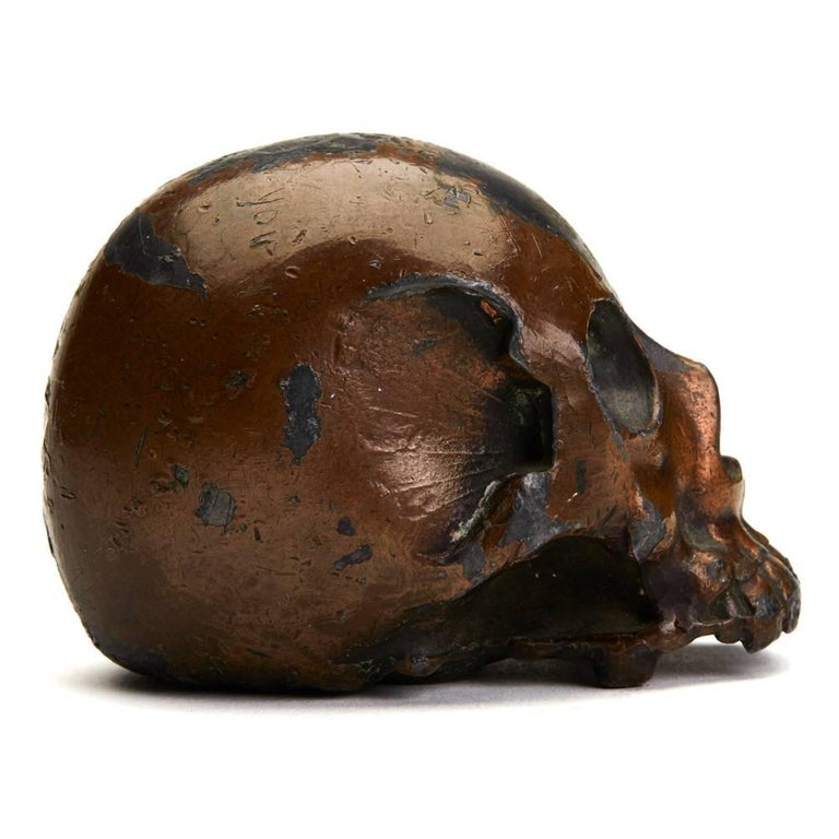 Japanese Meiji Lacquered Antimony Human Skull Okimono, 19th Century In Fair Condition In Bishop's Stortford, Hertfordshire