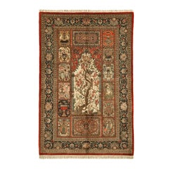 Vintage 'Tree of Life' Part Silk Qum Persian Rug