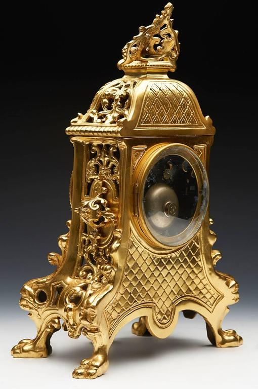 Antique French Gold Ormolu Mantel Clock 19th Century At