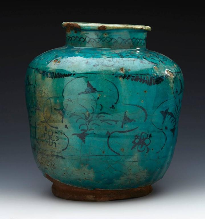 Large Antique Middle Eastern Kashan Turquoise Vase Pre 1800 At 1stdibs