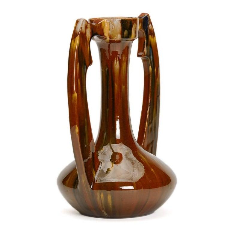 Glazed Art Nouveau French Clement Massier Vase, 19th Century For Sale